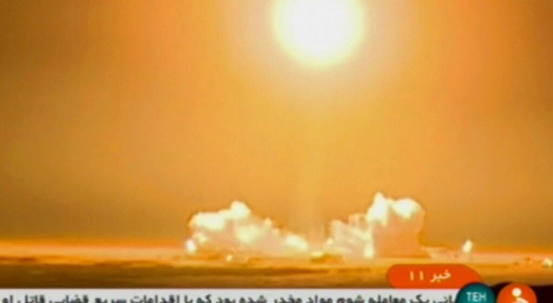 In this frame grab from Iranian state TV, a video, a rocket carrying a Payam satellite is launched at Imam Khomeini Space Center, a facility under the control of the country's Defense Ministry, in Semnan province, Iran, Tuesday, Jan. 15, 2019.