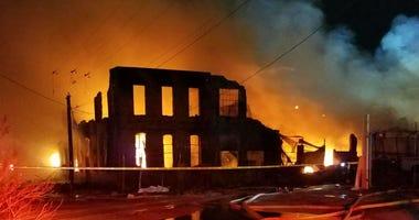 Four-alarm warehouse blaze