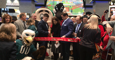 Hundreds of people showed up Friday for the grand opening of Wawa's flagship and largest store at Sixth and Market streets.