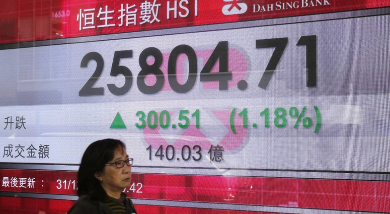 A woman passes an electronic board showing the Hong Kong share index outside a bank in Hong Kong, Monday, Dec. 31, 2018.