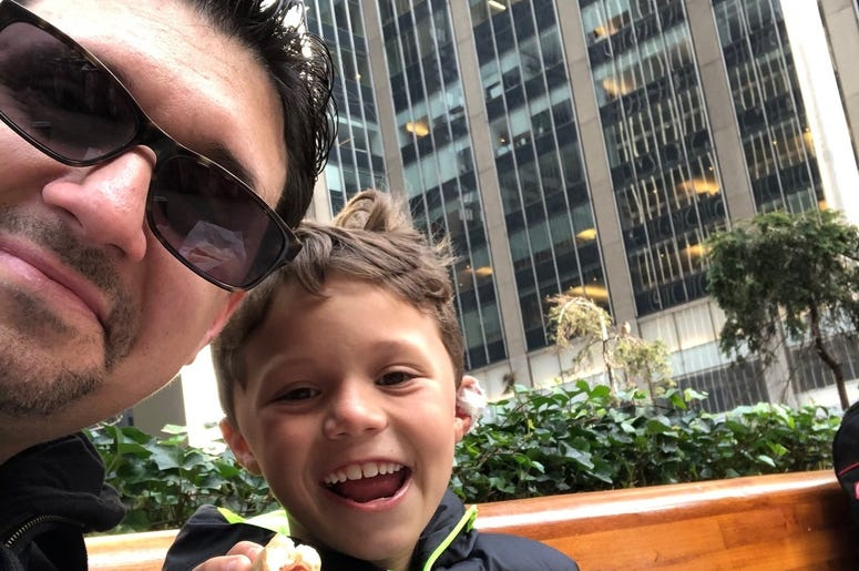 My dad always took me for hot dogs as a kid.  I kept that tradition going with my boy.  New York City hot dogs are great!