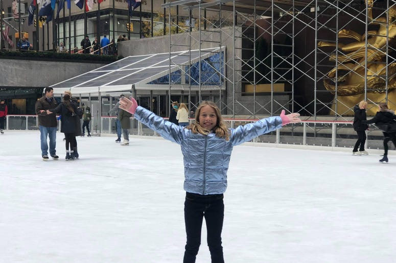 Sofia on the ice at Rockefeller Center