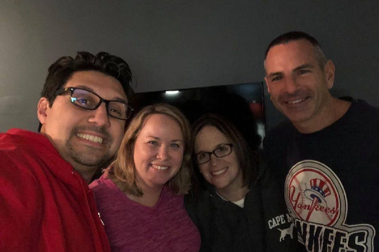With our friends Mike and Stacey.  They're always loads of fun!