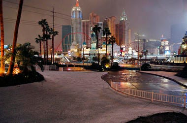 A dusting of snow covers an area along the Las Vegas Strip, Thursday, Feb. 21, 2019, in Las Vegas. A winter storm is expected to drop up to 3 inches (8 centimeters) of snow on Las Vegas' southern and western outskirts while other parts of the metro area w