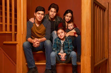 """This image released by Freeform shows the cast of """"Party of Five,"""" Niko Guardado as Beto Buendia, left, Brandon Larracuente as Emilio Buendia, Elle Paris Legaspi as Valentina Buendia, foreground right, and Emily Tosta as Lucia Buendia. The reboot of the 1"""