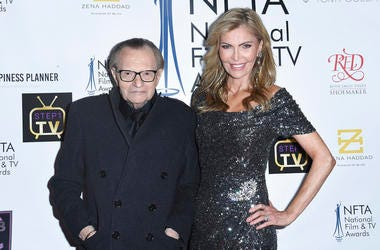 Larry King, left, and Shawn King attend the 2018 National Film & Television Awards at the Globe Theatre in Los Angeles. King has filed for divorce from his seventh wife, Shawn King, after 22 years. The 85-year-old talk show host filed a petition to end th