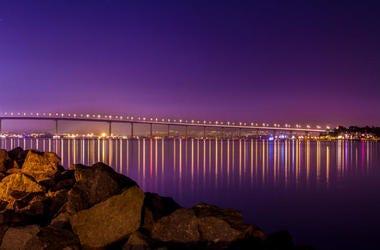 Coronado Bridge lit at night.