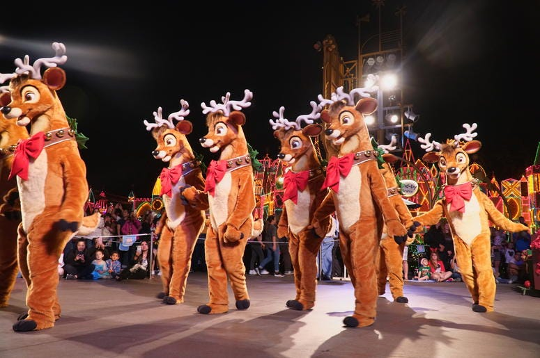Reindeer in A Christmas Fantasy Parade at Disneyland