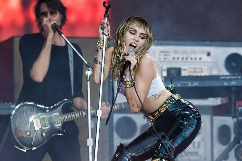 Miley Cyrus performs on the Pyramid stage on day five of Glastonbury Festival