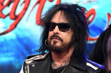 Nikki Sixx appears onstage at a press conference with Mötley Crüe, Def Leppard and Poison announcing their 2020 Stadium Tour on December 04, 2019 in Hollywood, California.