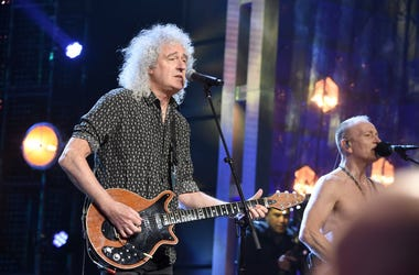 Queen's Brian May and inductee Phil Collen of Def Leppard perform at the 2019 Rock & Roll Hall Of Fame Induction Ceremony - Show at Barclays Center on March 29, 2019 in New York City