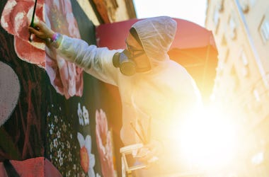 painting a mural outside