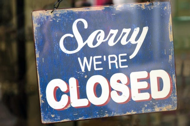 closed sign in a store entrance door