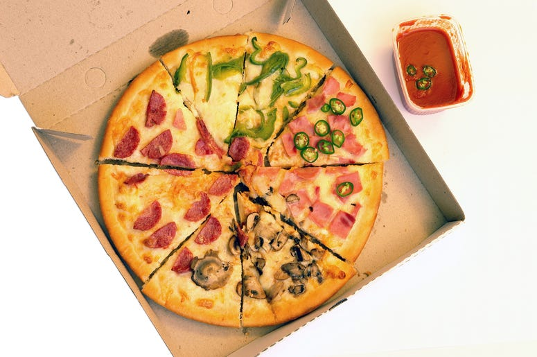 pizza in a delivered box