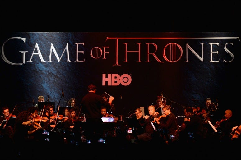 A full orchestra performs during the announcement of the Game of Thrones Live Concert Experience featuring composer Ramin Djawadi at the Hollywood Palladium