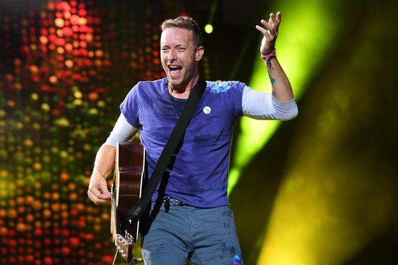 Chris Martin of Coldplay performs at the Hard Rock Stadium