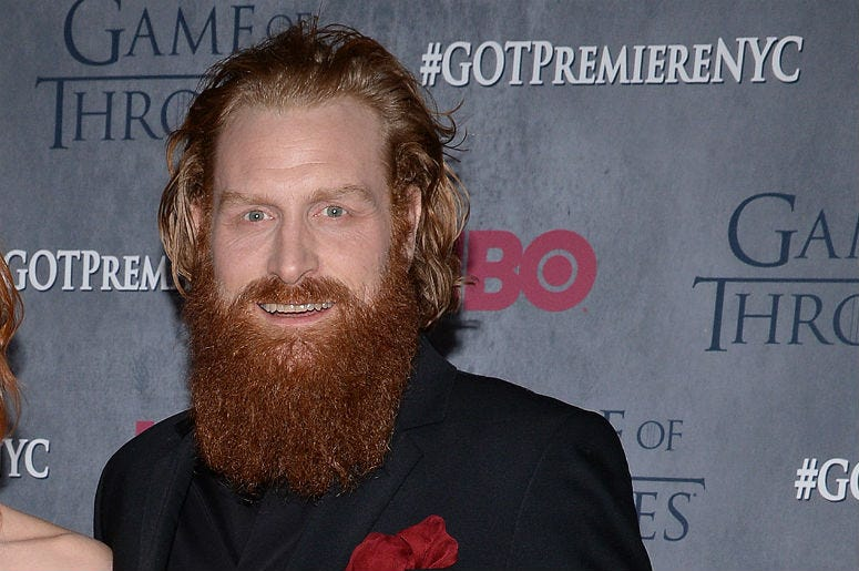 Kristofer Hivju (on right) attends the 'Game Of Thrones' Season 4 New York premiere at Avery Fisher Hall, Lincoln Center in New York