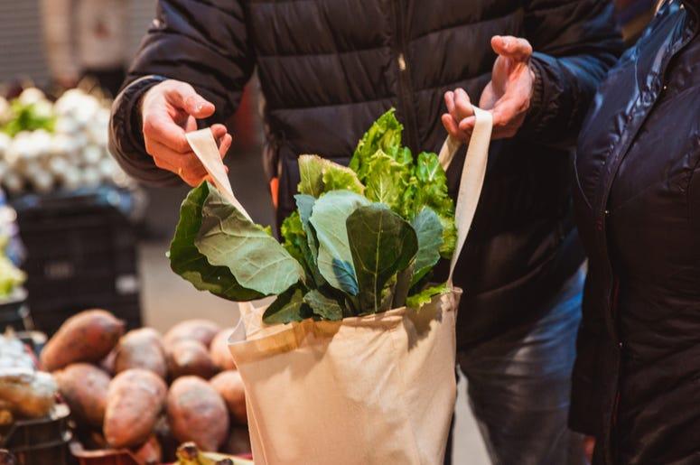Vegetables in a tote bag