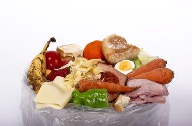 Food in trash bag