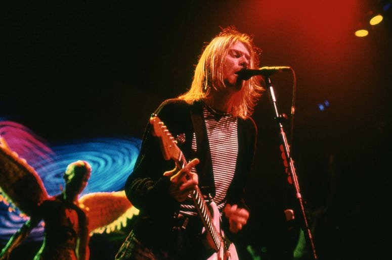 November 14, 1993; New York, NY, USA; Kurt Cobain from Nirvana performs in Concert on November 14, 1993 at New York Coliseum.