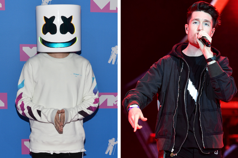 Marshmello Face walking on the red carpet at The 2018 MTV Video Music Awards held at Radio City Music Hall. / Dan Smith from Bastille on stage with Coca-Cola.