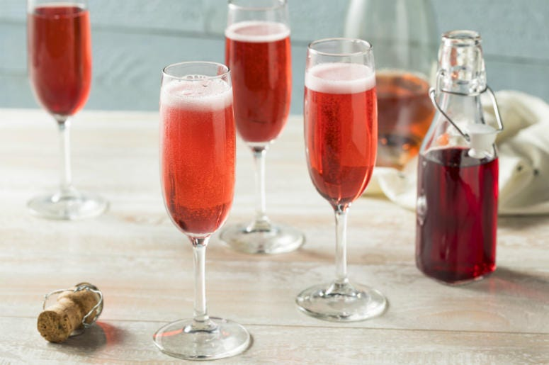 Sweet homemade Rose Mimosas. Cold, mocktail.