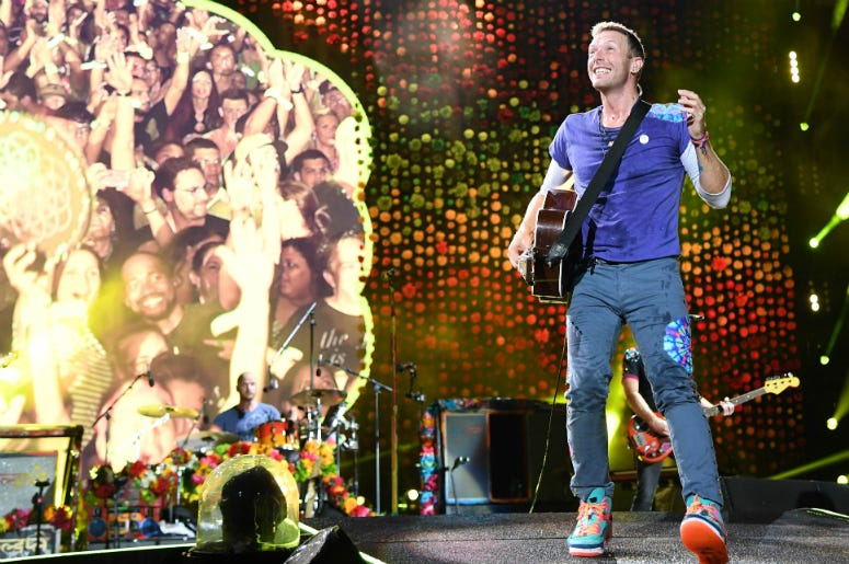 Chris Martin of Coldplay performs at the Hard Rock Stadium.