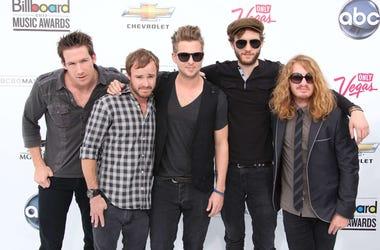 Las Vegas, NV- Musicians Drew Brown, Eddie Fisher, Ryan Tedder, Zach Filkins, and Brent Kutzle of One Republic arrive to the 2011 Billboard Music Awards in Las Vegas, Nevada.