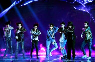LAS VEGAS, NV - MAY 20: Music group BTS performs onstage during the 2018 Billboard Music Awards at MGM Grand Garden Arena on May 20, 2018 in Las Vegas, Nevada.