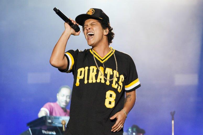 NAPA, CA - MAY 27: Bruno Mars performs during the 2018 BottleRock Napa Valley at Napa Valley Expo on May 27, 2018 in Napa, California.