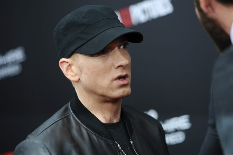 """Eminem attends the """"SouthPaw"""" premiere at the AMC Loews Lincoln Square theatre in New York, NY, on July 20, 2015."""