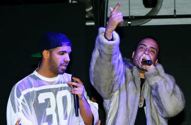 Recording artist/rapper Drake (left) French Montana (center) and Sean Combs aka Diddy during the Revolt Party at the Time Warner Cable Studios.