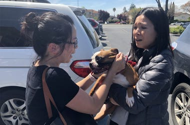 Diamond is reunited with Vanny Nguyen (Photo credit: Jennifer Hodges/KCBS Radio)