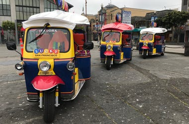 E-Tuk Tuks in San Francisco (Photo credit: Matt Bigler/KCBS Radio)