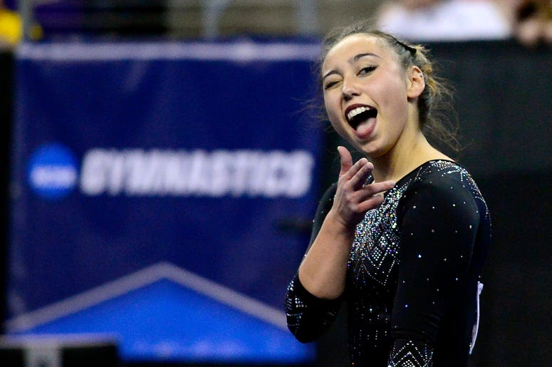 Apr 15, 2017; St. Louis, MO, USA; UCLA Bruins gymnast Katelyn Ohashi performs a floor routine during the finals of the 2017 NCAA Women's Gymnastics Championships at Chaifetz Arena. Mandatory Credit: Jeff Curry-USA Today Sports