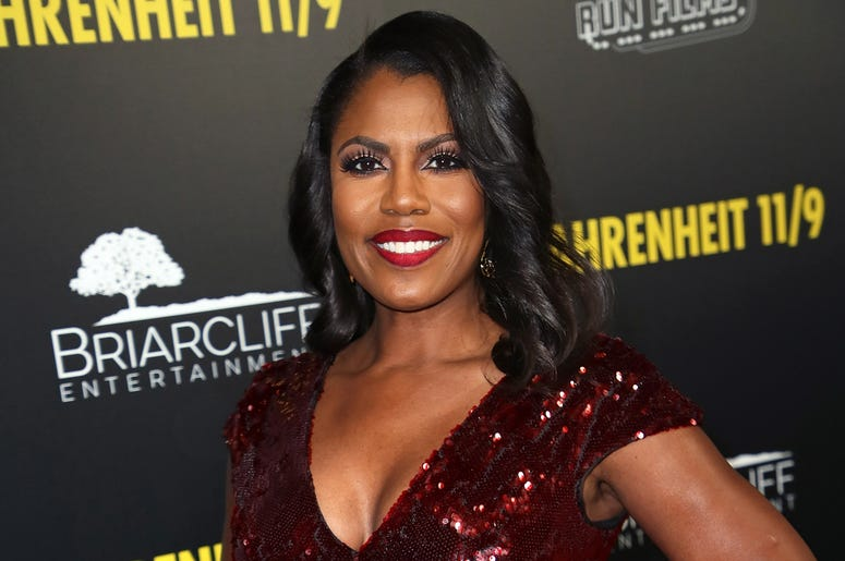 "BEVERLY HILLS, CA - SEPTEMBER 19: Omarosa Manigault Newman attends the premiere of Briarcliff Entertainment's ""Fahrenheit 11/9"" at Samuel Goldwyn Theater on September 19, 2018 in Beverly Hills, California. (Photo by David Livingston/Getty Images)"