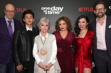 LOS ANGELES, CALIFORNIA - FEBRUARY 07: (L-R) Stephen Tobolowsky, Marcel Ruiz, Rita Moreno, Justina Machado, Isabella Gomez and Todd Grinnell attend the premiere of Netflix's 'One Day At A Time' Season 3 at Regal Cinemas L.A. LIVE Stadium 14 on February 07