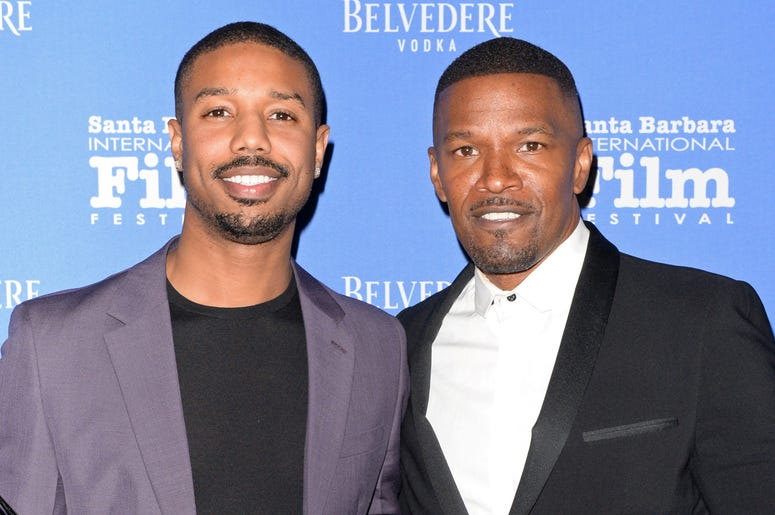 SANTA BARBARA, CALIFORNIA - FEBRUARY 07: Michael B. Jordan (L) and Jamie Foxx attend Belvedere Vodka Celebrates Michael B. Jordan's Cinema Vanguard Award at the 34th annual Santa Barbara International Film Festival on February 07, 2019 in Santa Barbara, C