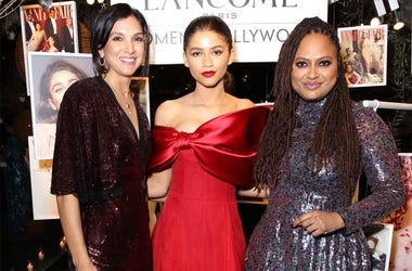 WEST HOLLYWOOD, CALIFORNIA - FEBRUARY 21: (L-R) Vanity Fair Editor-in-Chief Radhika Jones, Zendaya, Ava DuVernay attend Vanity Fair and Lancôme Toast Women In Hollywood on February 21, 2019 in West Hollywood, California. (Photo by Rachel Murray/Getty Imag