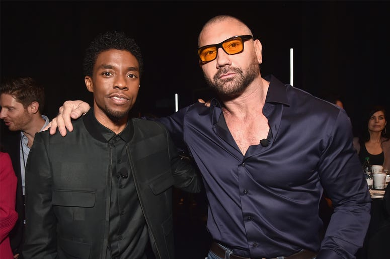 LAS VEGAS, NV - APRIL 02: (L-R) Chadwick Boseman and Dave Bautista pose backstage at CinemaCon 2019 The State of the Industry and STXfilms Presentation at The Colosseum at Caesars Palace during CinemaCon, the official convention of the National Associatio