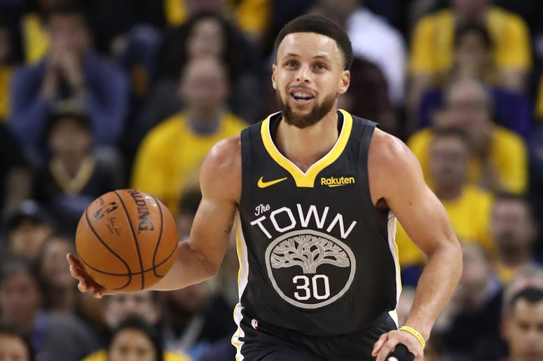 OAKLAND, CALIFORNIA - MAY 16: Stephen Curry #30 of the Golden State Warriors controls the ball against the Portland Trail Blazers in game two of the NBA Western Conference Finals at ORACLE Arena on May 16, 2019 in Oakland, California. NOTE TO USER: User e