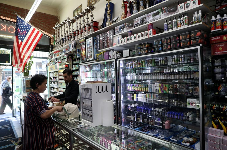 SAN FRANCISCO, CALIFORNIA - JUNE 25: E-Cigarette vaporizer components and products are displayed at Smoke and Gift Shop on June 25, 2019 in San Francisco, California. The San Francisco Board of Supervisors voted unanimously, 11-0, to be the first city in