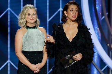 Jan 6, 2019; Beverly Hills, CA, USA; Amy Poehler and Maya Rudolph during the 76th Golden Globe Awards at the Beverly Hilton. Mandatory Credit: Paul Drinkwater/NBC via USA TODAY NETWORK