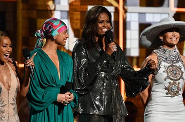 February 10, 2019; Los Angeles, CA, USA; (From Left) Jada Pinkett-Smith, Alicia Keys and Michelle Obama and Jennifer Lopez appear during the 61st Annual GRAMMY Awards on Feb. 10, 2019 at STAPLES Center in Los Angeles, Calif. Mandatory Credit: Robert Hanas