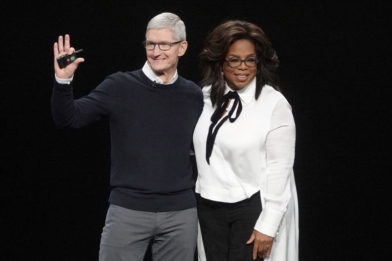 March 25, 2019; Cupertino, CA, USA; Tim Cook and Oprah Winfrey during an event launching Apple tv+ at Apple headquarters. Mandatory Credit: Jefferson Graham-USA TODAY