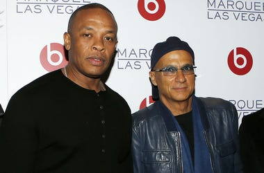 LAS VEGAS, NV - JANUARY 10: (L-R) Ian Rogers, CEO of Daisy LLC, Dr. Dre, Founder of Beats Electronics, Jimmy Iovine, Interscope Geffen A&M Chairman and Beats Electronics CEO & Co-Founder, and Luke Wood, President & Chief Executive Officer of Beats Electro