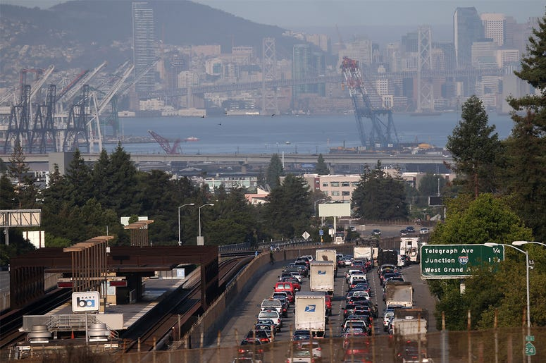 OAKLAND, CA - JULY 01: Traffic backs up on westbound highway 24 next to a Bay Area Rapid Transit (BART) station July 1, 2013 in Oakland, California. (Photo by Justin Sullivan/Getty Images)