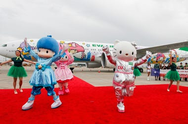 HOUSTON, TX - JUNE 19: Hello Kitty performs with My Melody and LIttle Twin Stars during the EVA Air Hello Kitty Shining Star Jet - Inaugural Event at George Bush Intercontinental Airport on June 19, 2015 in Houston, Texas. (Photo by Bob Levey/Getty Images