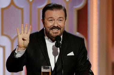 BEVERLY HILLS, CA - JANUARY 10: In this handout photo provided by NBCUniversal, Host Ricky Gervais speaks onstage during the 73rd Annual Golden Globe Awards at The Beverly Hilton Hotel on January 10, 2016 in Beverly Hills, California. (Photo by Paul Drink