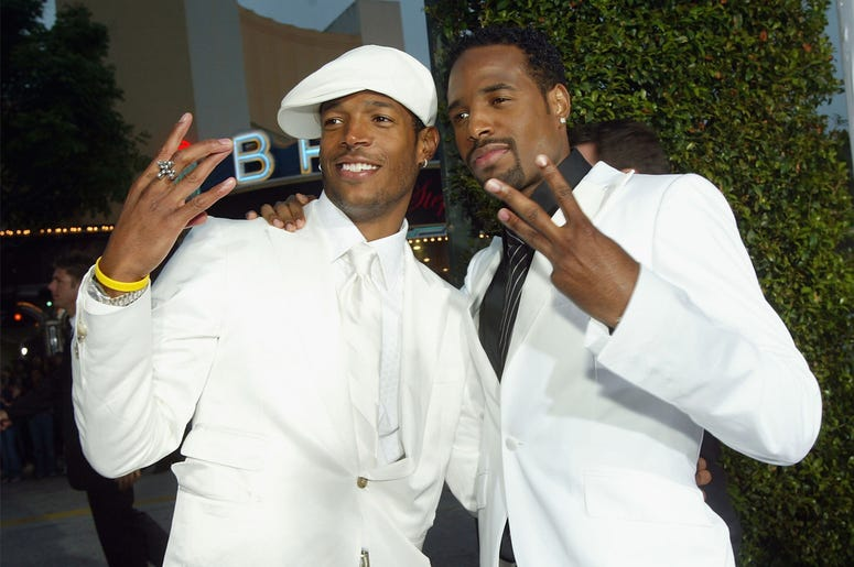 "LOS ANGELES - JUNE 16: Actors Marlon Wayans (L) and Shawn Wayans (R) arrive at the premiere of Revolution Studio's and Columbia Picture's ""White Chicks"" at the Village Theatre on June 16, 2004 in Los Angeles, California. (Photo by Kevin Winter/Getty Image"